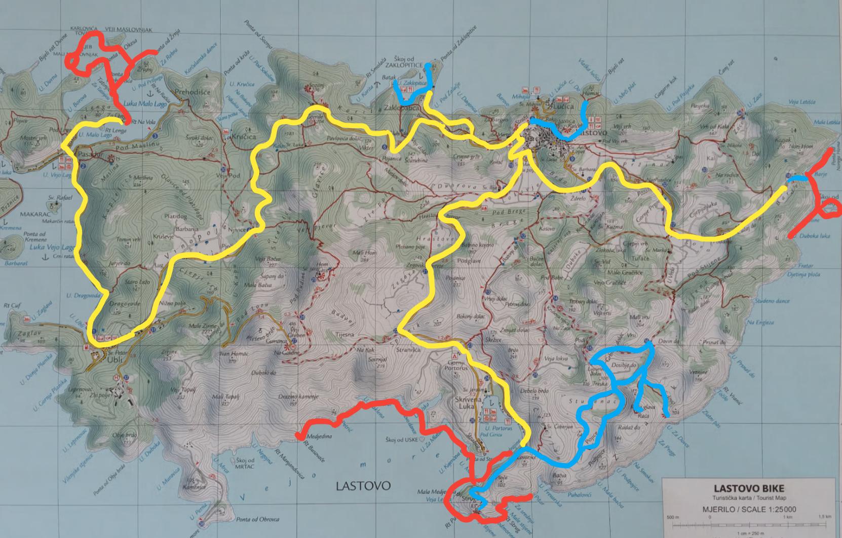 Lastovo 2017 - trip map