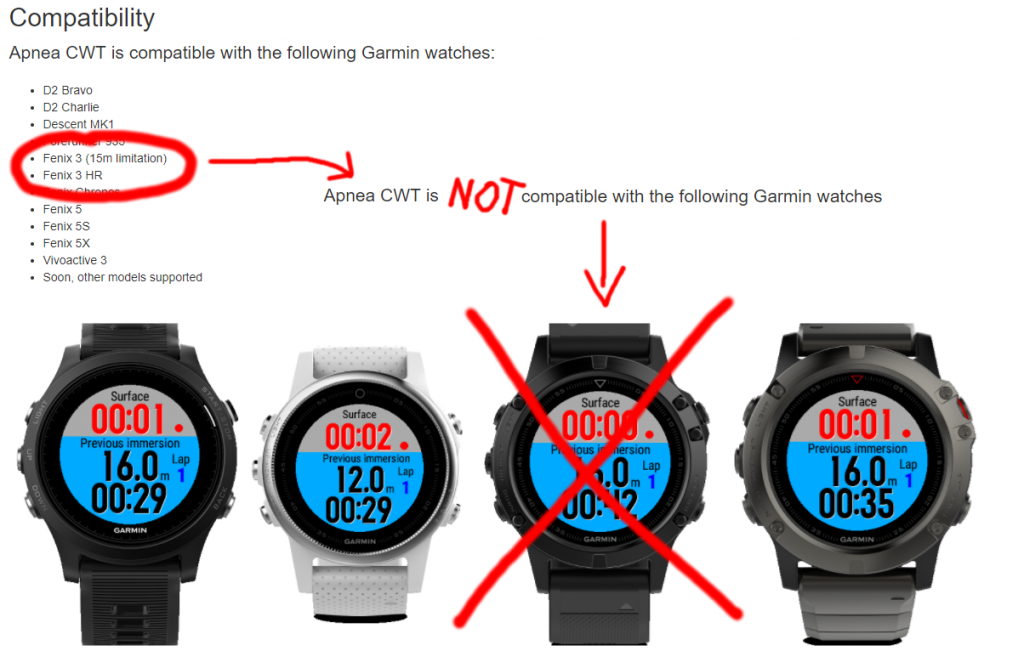 Apnea CWT is NOT compatible with Garmin Fenix 3 HR !